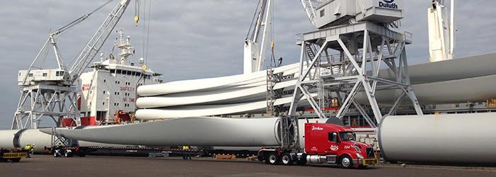 Unloading wind turbine equipment